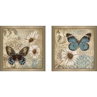 """""""Butterfly Garden II"""" Wall Art Set of 2, Matching Set"""
