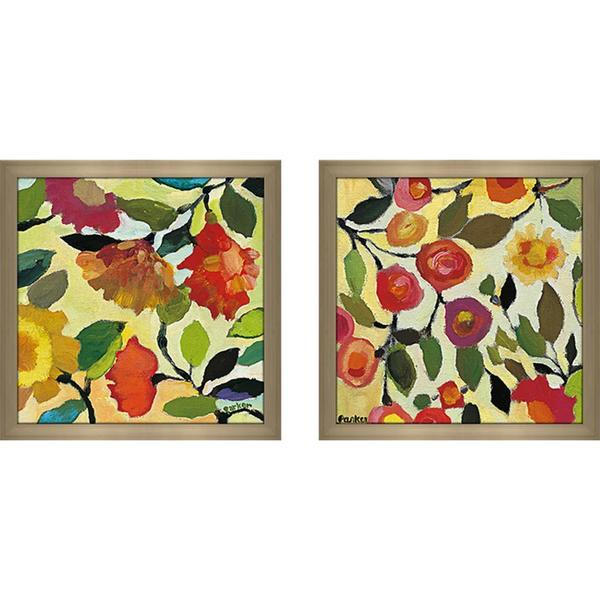 """Floral Tile I"" Wall Art Set of 2, Matching Set"