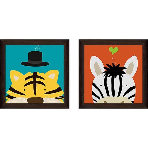 """""""Peek-A-Boo Zebra"""" Wall Art Set of 2, Matching Set"""