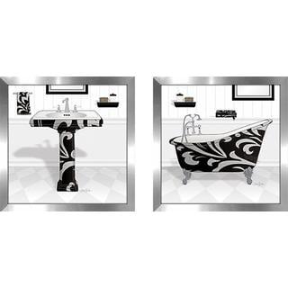 """Black Damask Tub"" Wall Art Set of 2, Matching Set"