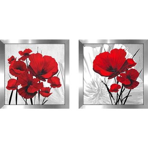 """Big Red Poppies"" Wall Art Set of 2, Matching Set"