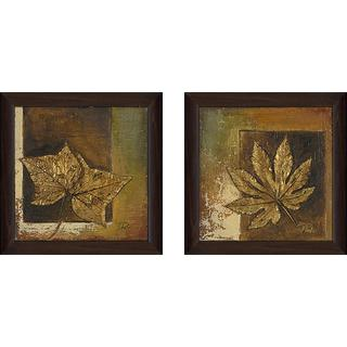 """Golden Leaves"" Wall Art Set of 2, Matching Set"