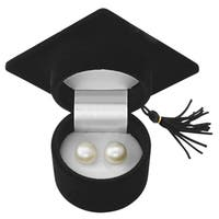 Graduation Gift! Pearlyta Sterling Silver Freshwater Pearl Earring Studs (12-13mm) - White