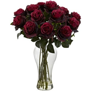 Nearly Natural Blooming Roses with Vase