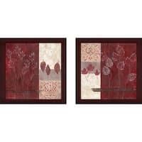"""Pressed Crimson"" Wall Art Set of 2, Matching Set"