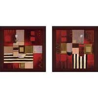 """Modern Scarlet"" Wall Art Set of 2, Matching Set"
