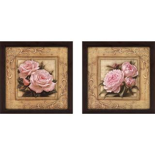 """Pretty in Pink Peonies"" Wall Art Set of 2, Matching Set"
