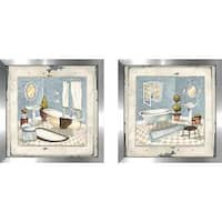 """Blue Bath"" Wall Art Set of 2, Matching Set"