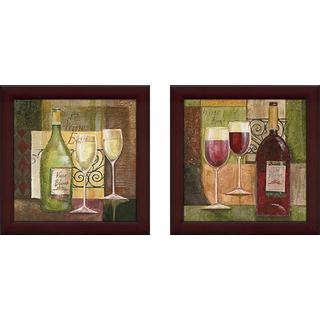 """Red Wine Bar"" Wall Art Set of 2, Matching Set"
