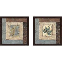 """Blue Brown Fern IV"" Wall Art Set of 2, Matching Set"