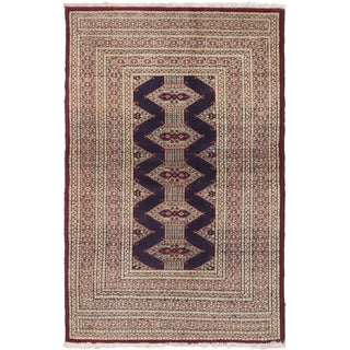 ecarpetgallery Turkoman Blue, Ivory Wool Rug (2'8 x 4'2)