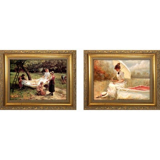 """The Apple Gatherers "" Mini Framed Art Set"