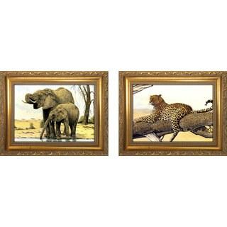 """""""Elephants By The Waterhole """" Mini Framed Art Set"""
