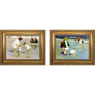 """Children Playing At The Seashore "" Mini Framed Art Set"