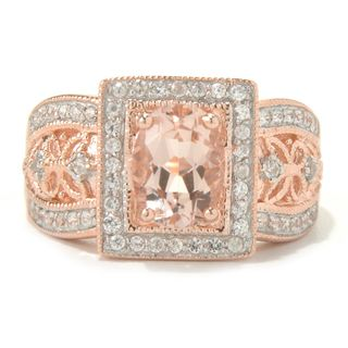 10k Rose Gold Morganite and Diamond Ring (1/3cttw, H-I Color, I1-I2 Clarity)
