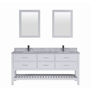 Belvedere Bath White 72 inch Marble Top & Backsplash Double Sink Vanity