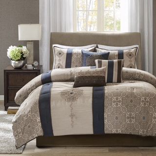 Link to Madison Park Blaine Navy 7 Piece Jacquard Comforter Set Similar Items in Comforter Sets