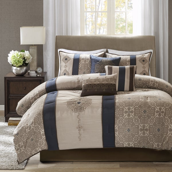 Madison Park Blaine Navy 7 Piece Jacquard Comforter Set
