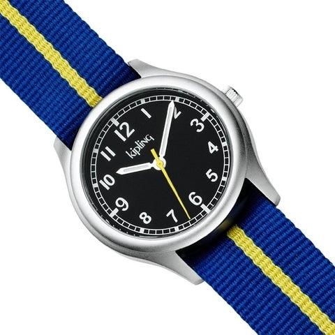 Kipling Kids Blue Vintage Yellow Stripe Quartz Watch