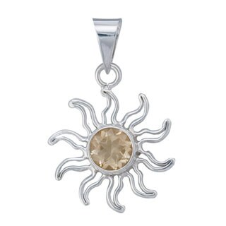 Handmade Sterling Silver Citrine Sun Pendant (Mexico)