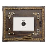 HiEnd Accents Wood W/Metal Strips & Rope Frame (Ea) 4X6