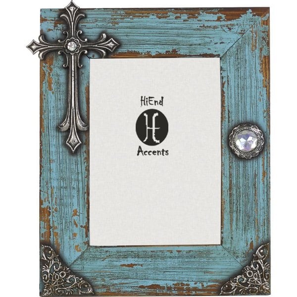 HiEnd Accents Turquoise Distressed Frame With Cross 5 X 7
