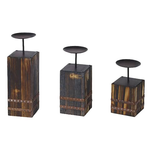 HiEnd Accents Wood And Metal Candleholders Set Of 3