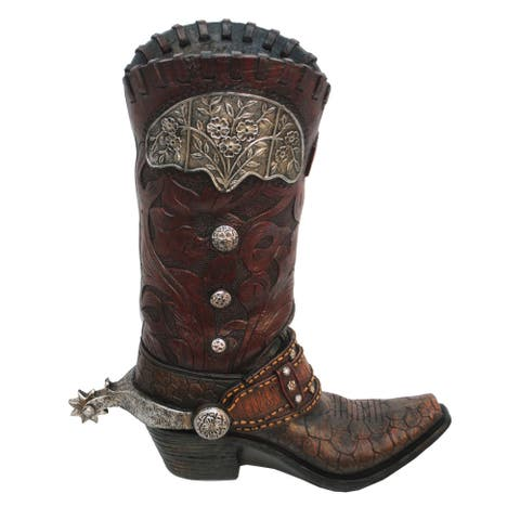 HiEnd Accents Tooled Cowboy Boot Vase