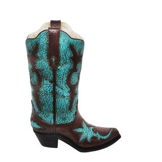 HiEnd Accents Turquoise Distressed Boot Vase