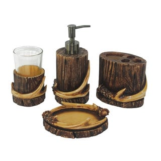 HiEnd Accents 4-piece Antler Bath Set