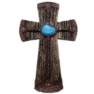 HiEnd Accents Resin Cross W/Rebar & Turquoise Stone (Ea)