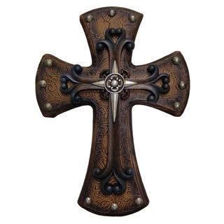 HiEnd Accents Studded Wood Cross W/Tooled Lthr & Sm Cross (Ea)