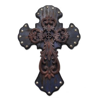 HiEnd Accents Studded Wood Cross W/Metal Cross Overlay (Ea)