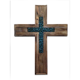 HiEnd Accents Wood Cross W/Turq Rock Cross Insert (Ea)