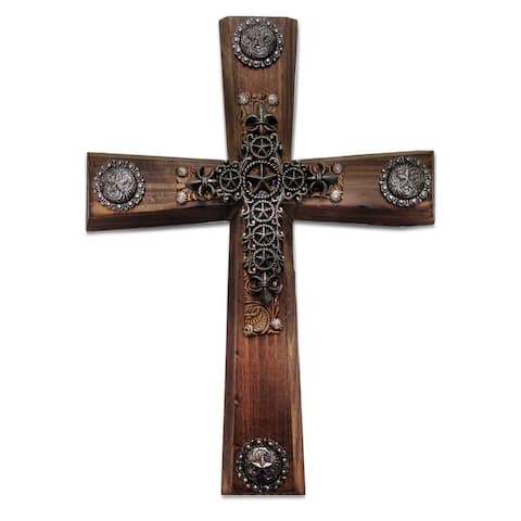 HiEnd Accents Wood Cross W/Star Cross Overlay (Ea)