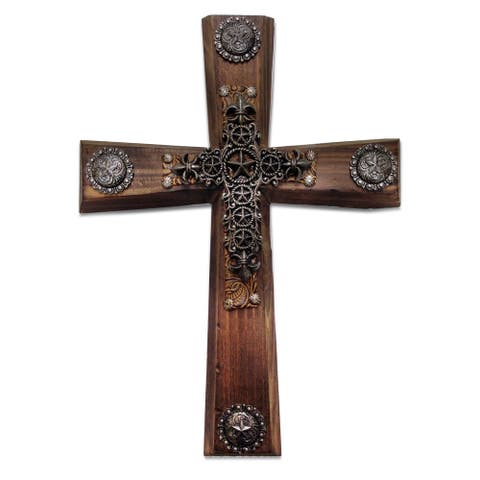 HiEnd Accents Wood Cross W/Star Cross Overlay (Ea)