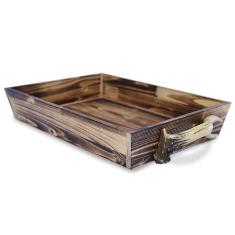 HiEnd Accents Wooden Tray with Antler Handles