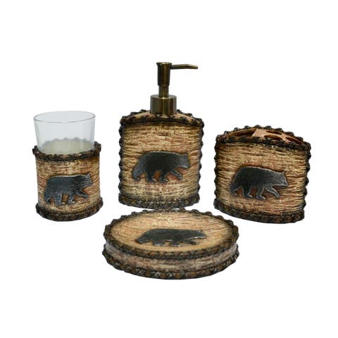 HiEnd Accents 4-piece Rustic Bear Bath Set