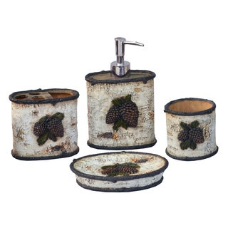 HiEnd Accents 4-piece Birch Pinecone Bath Set