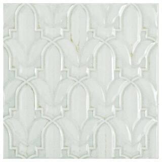 SomerTile 5.875x5.875-inch Pais Lis Décor Blanco Ceramic Wall Tile (44 tiles/11.46 sqft.)