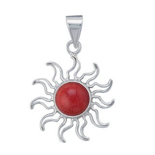 Handmade Sterling Silver Sun Coral Pendant (Mexico)