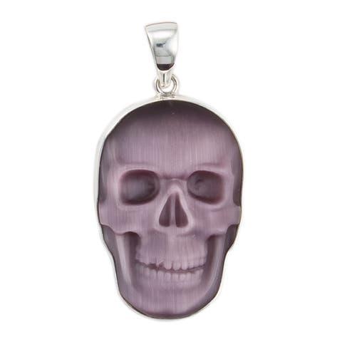 Handmade Sterling Silver Purple Fiber Optic Skull Pendant (Mexico)