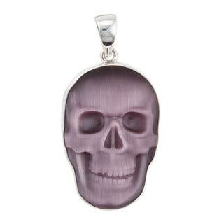 Handmade Sterling Silver Purple Fiber Optic Skull Pendant (Mexico)|https://ak1.ostkcdn.com/images/products/15906722/P22311074.jpg?impolicy=medium