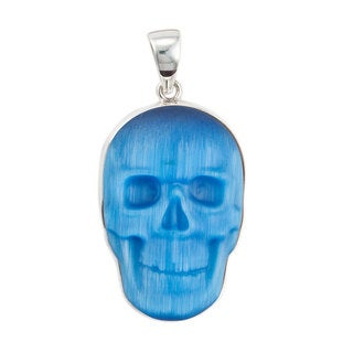 Handmade Sterling Silver Blue Fiber Optic Skull Pendant (Mexico)