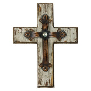 HiEnd Accents Cream Wood Cross W/Rustic Metal Overlay Straight Large