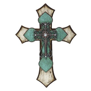 HiEnd Accents Cross With Tooled Turquoise Detail