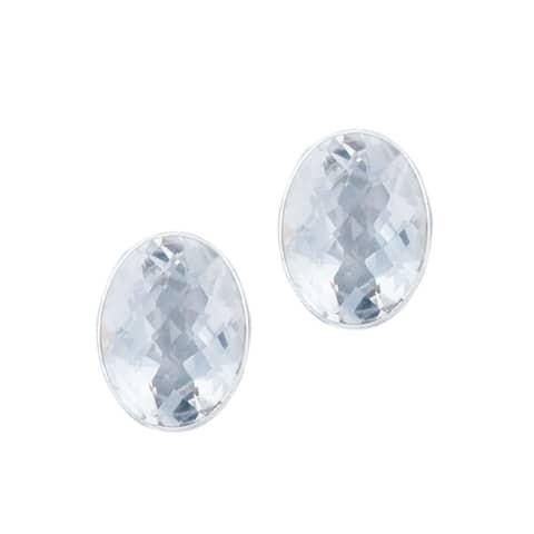 Handmade Sterling Silver Quartz Post Earrings (Mexico) - Clear/White