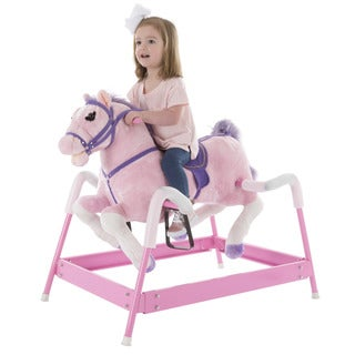 Happy Trails Pink Spring Rocking Horse Plush Ride On