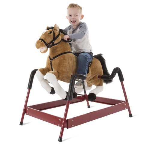 Happy Trails Brown Spring Rocking Horse Plush Ride on Toy with Adjustable Foot Stirrups