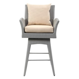 Safavieh Hayes Grey/Beige Outdoor Wicker Swivel Armed Barstool